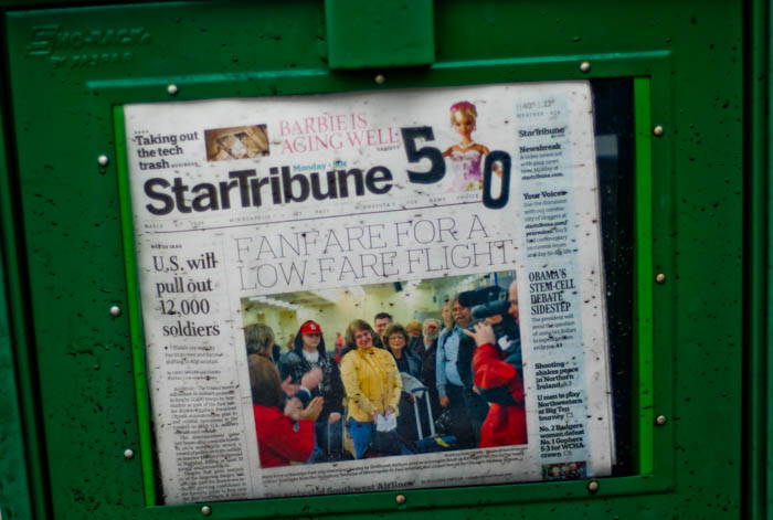 Barbie turns 50, Fanfare for a low flight, Obama pulls out 12,000 soldiers. 2009